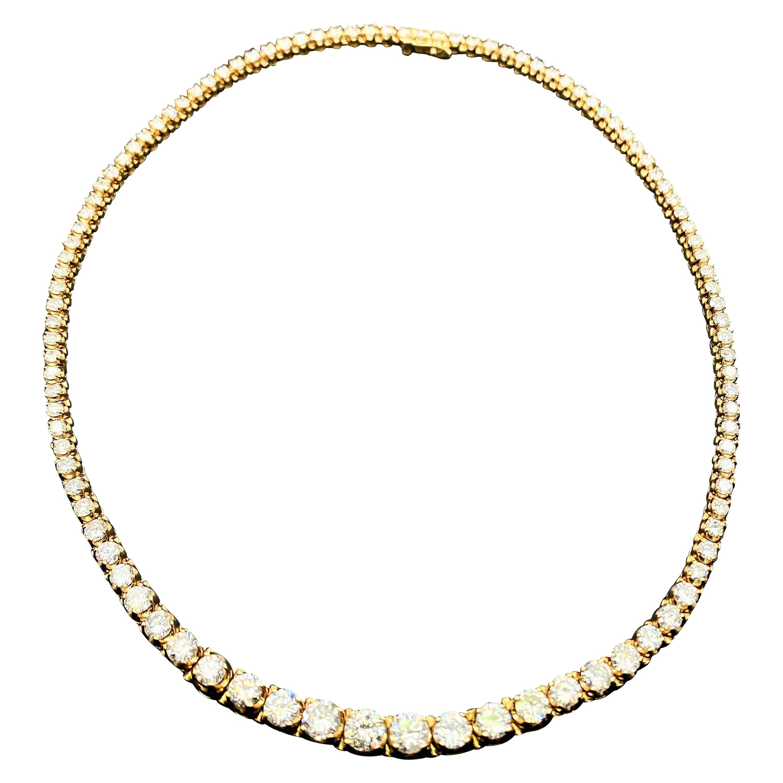 12.00 Carat Round Diamond Riviera Necklace 14 Karat Yellow Gold