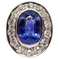 12.00 Carat Sri Lankan Blue Sapphire 8.00 Carat Diamond White Gold Cocktail Ring