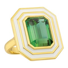 12.01 Carat Green Tourmaline and Enamel Cocktail Ring