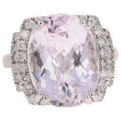 12.01 Carat Kunzite Diamond 14 Karat White Gold Cocktail Ring