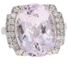 12.01 Carat Kunzite Diamond 14 Karat White Gold Cocktail Ring