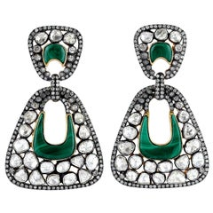 12.01 Carat Rose Cut Diamond Malachite Earrings