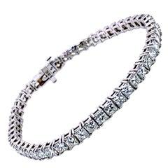 12.02 Carat 4-Prong Set Princess Cut Diamond Gold Tennis Bracelet