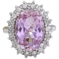 12.02 Carat Exquisite Natural Pink Kunzite and Diamond 14K Solid White Gold Ring