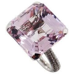 12.02 Ct Asscher Cut Baby Pink Kunzite & Diamond Cocktail Ring, Statement Piece