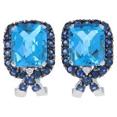 12.03ctw Blue Topaz, Sapphire, & Diamond Earrings 18k Gold Pierced Halo J-Hoops