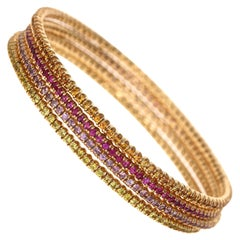 12.05 Carat Multicolored Sapphire 14 Karat Gold Stack-Able Eternity Bangles