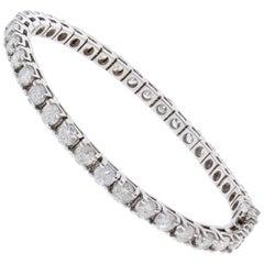 12.05 Carat Total Round Diamond 4 Prong Tennis Bracelet in 14 Karat White Gold