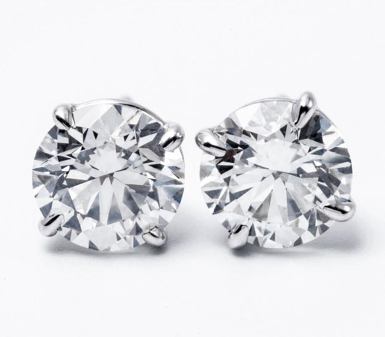 Round Cut Diamond Stud Earrings 1.25 Carats 14K White Gold  For Sale