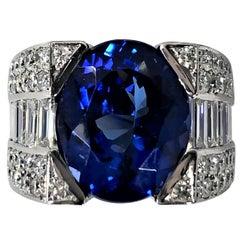 12.06 Carat Oval Tanzanite and Diamond Ring