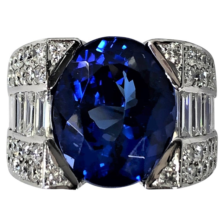 12.06 Carat Oval Tanzanite and Diamond Ring For Sale