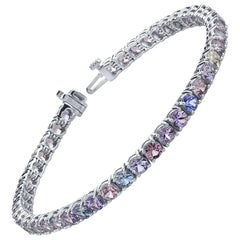12.06 Carat Pastel Multi-Color Sapphires 18 Karat White Gold Tennis Bracelet