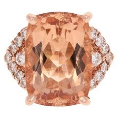 12.08 Carat Morganite Diamond 14 Karat Rose Gold Cocktail Ring
