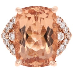 12.08 Carat Morganite Diamond Rose Gold Cocktail Ring