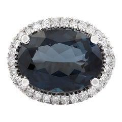 12.08 Carat Natural Topaz 18 Karat White Gold Diamond Ring