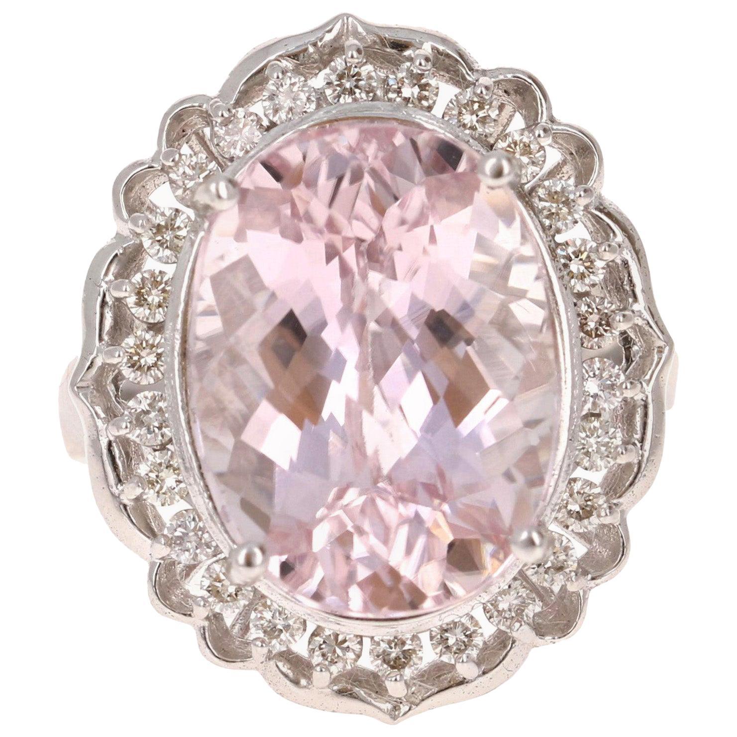 12.09 Carat Kunzite Diamond White Gold Ring
