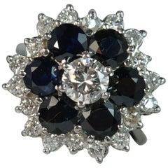1.20 Carat Diamond 2.8 Carat Sapphire 18 Carat Gold Cluster Ring