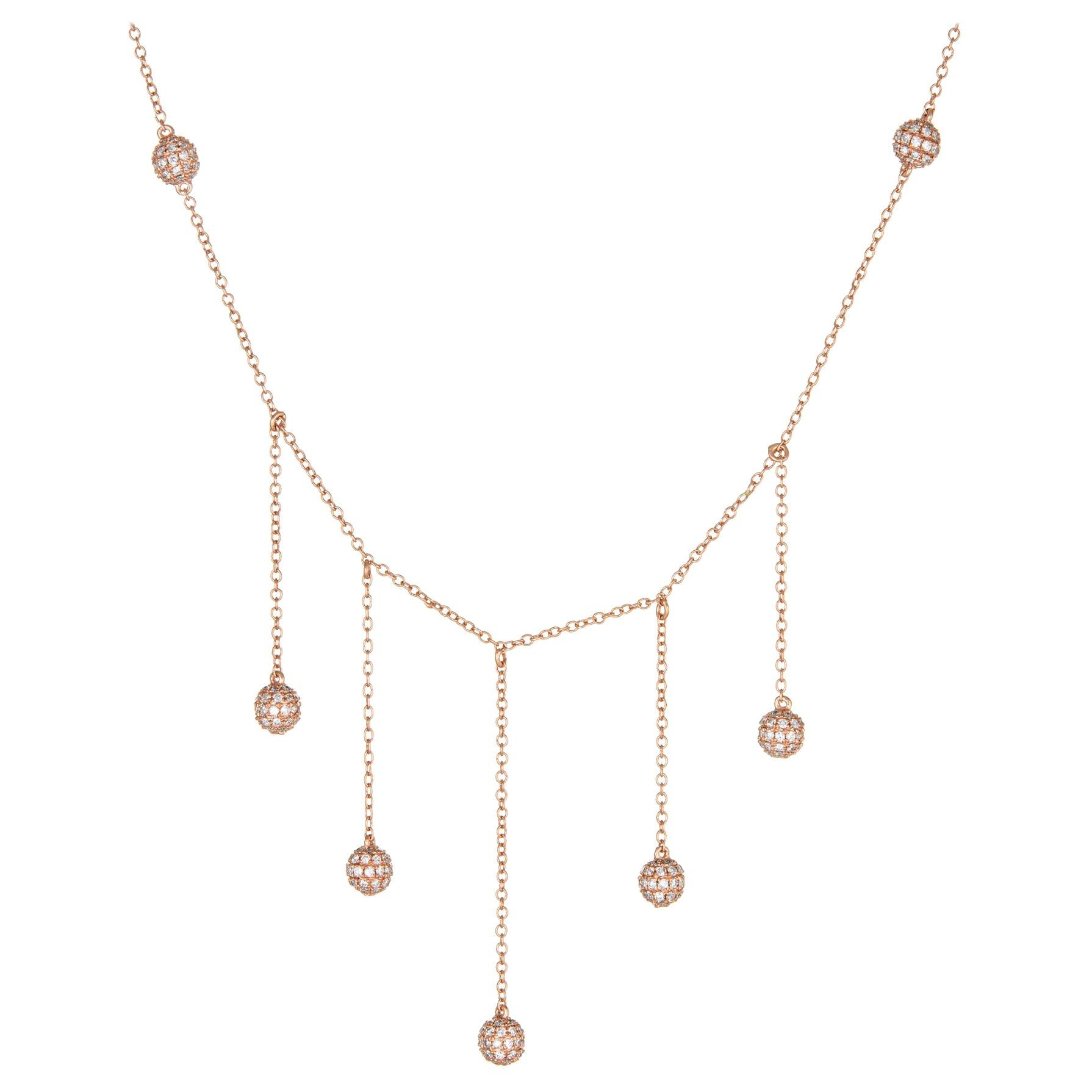 1.20 Carat Diamond Necklace 14 Karat Rose Gold Fringe Drop Pave Orbs Round Short