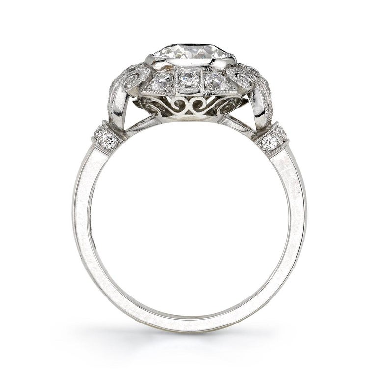 Art Deco 1.20 Carat EGL Certified Cushion Diamond Set in a Handcrafted Platinum Ring For Sale