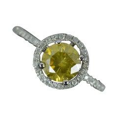 1.20ct Yellow Diamond 14ct White Gold Halo Target Engagement Ring
