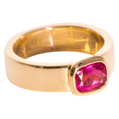 1.21 Carat Cushion Cut Pink Tourmaline 18 Carat Yellow Gold Cocktail Ring