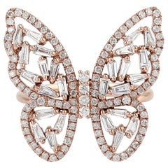 1.21 Carat Baguette Diamond 18 Karat Butterfly Ring