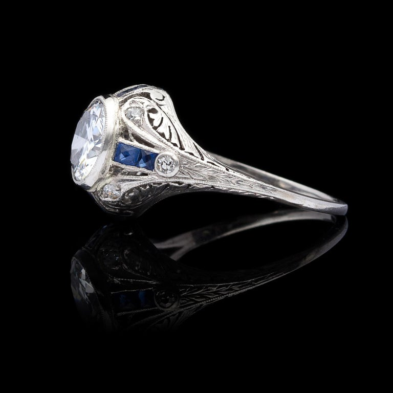 Art Deco 1.21 Carat Diamond and Sapphire Antique Engagement Ring For Sale