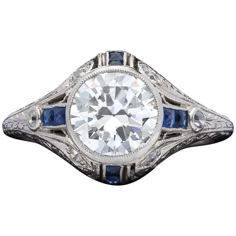 1.21 Carat Diamond and Sapphire Antique Engagement Ring For Sale