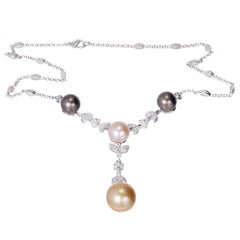 1.21 Carat Diamond South Sea Cultured Pearl Gold Drop Necklace