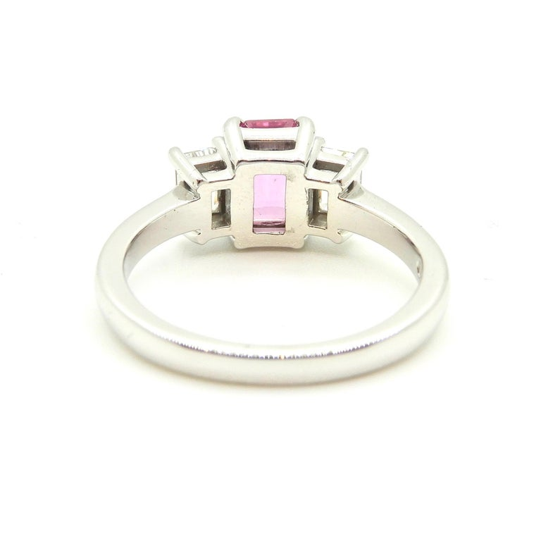 1.21 Carat Emerald Cut Pink Sapphire and Diamond Engagement Ring 5