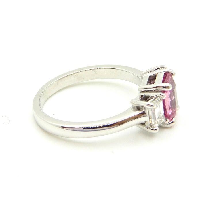 1.21 Carat Emerald Cut Pink Sapphire and Diamond Engagement Ring 6