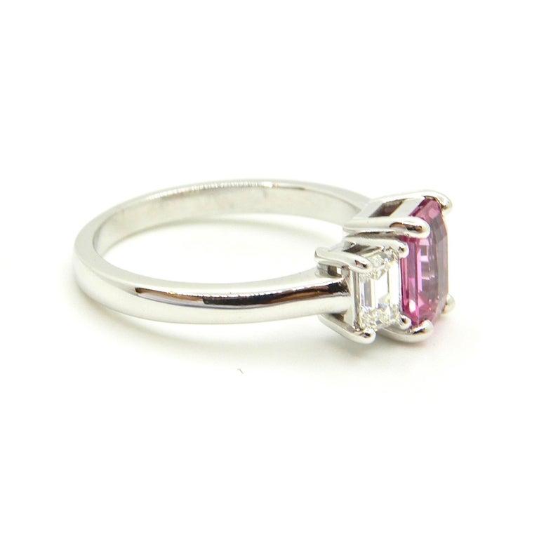 1.21 Carat Emerald Cut Pink Sapphire and Diamond Engagement Ring 7