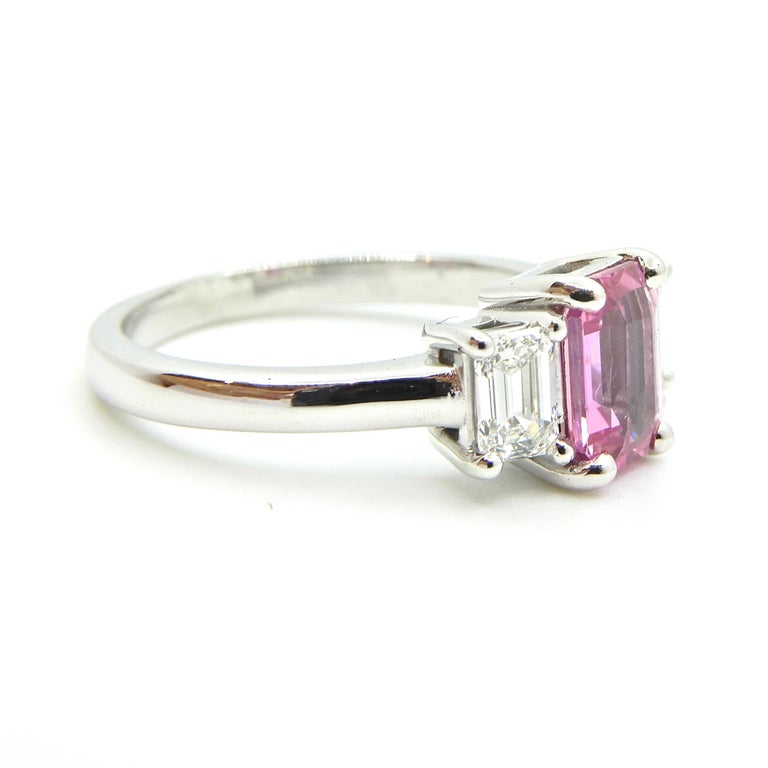 1.21 Carat Emerald Cut Pink Sapphire and Diamond Engagement Ring 8