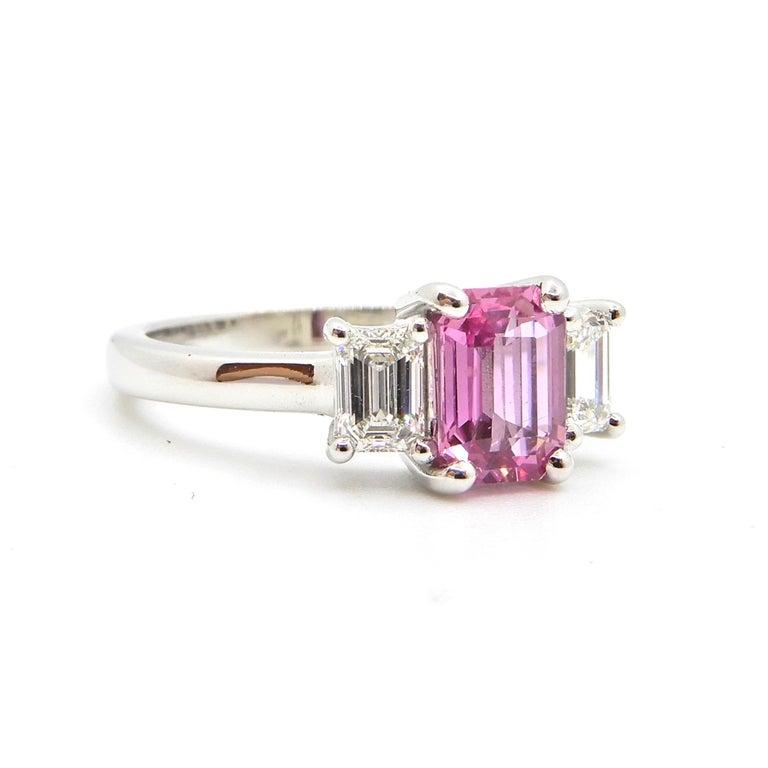 1.21 Carat Emerald Cut Pink Sapphire and Diamond Engagement Ring 9