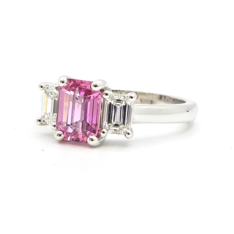 1.21 Carat Emerald Cut Pink Sapphire and Diamond Engagement Ring 10
