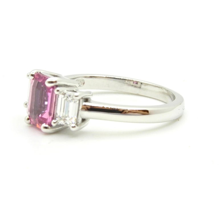 Contemporary 1.21 Carat Emerald Cut Pink Sapphire and Diamond Engagement Ring