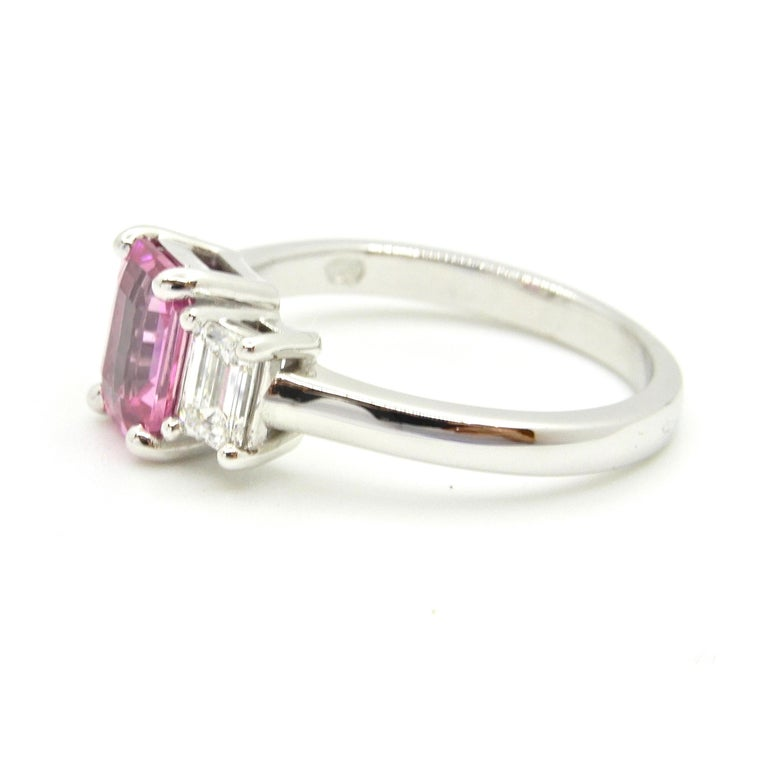 1.21 Carat Emerald Cut Pink Sapphire and Diamond Engagement Ring In New Condition In Brisbane, QLD