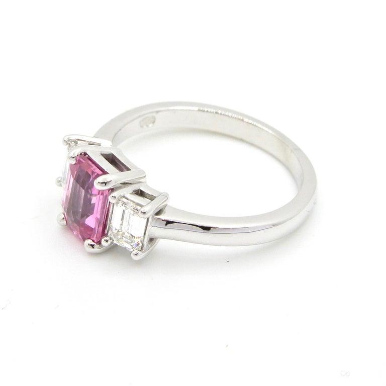 Women's 1.21 Carat Emerald Cut Pink Sapphire and Diamond Engagement Ring