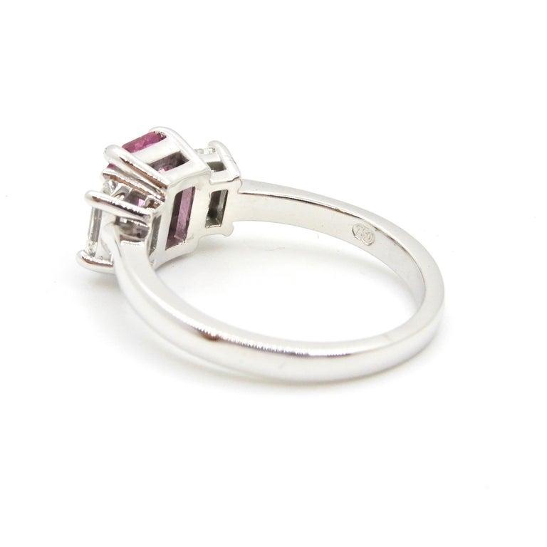 1.21 Carat Emerald Cut Pink Sapphire and Diamond Engagement Ring 2