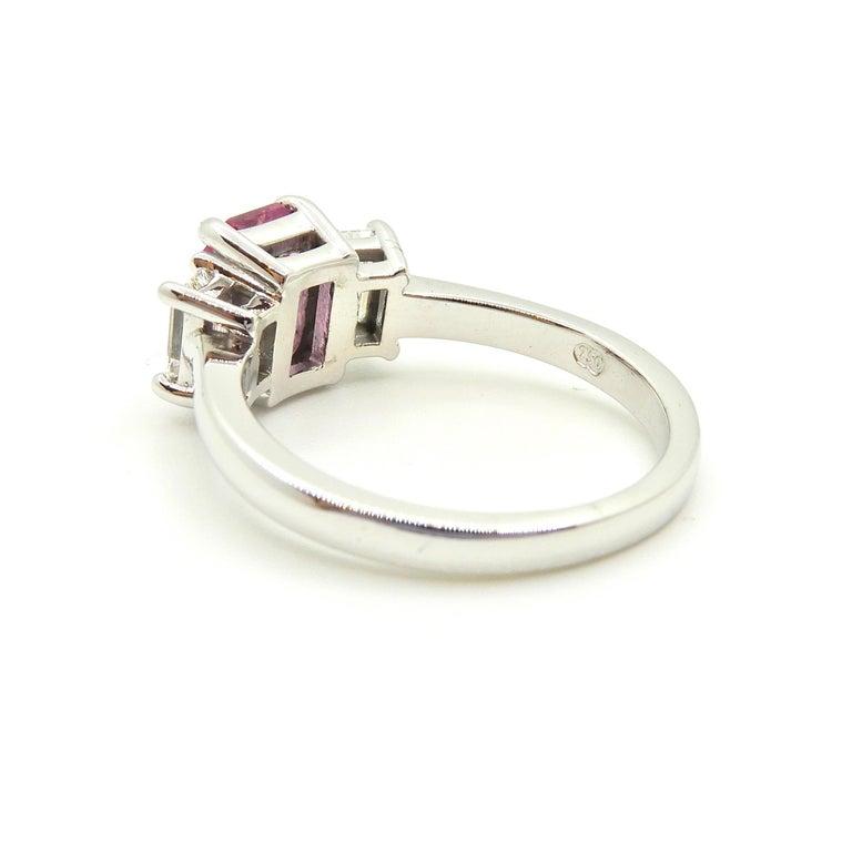 1.21 Carat Emerald Cut Pink Sapphire and Diamond Engagement Ring 3