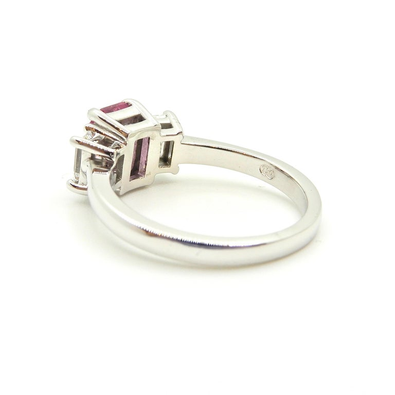 1.21 Carat Emerald Cut Pink Sapphire and Diamond Engagement Ring 4