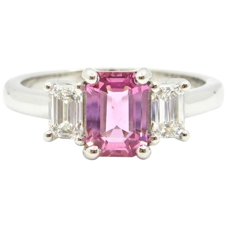 1.21 Carat Emerald Cut Pink Sapphire and Diamond Engagement Ring