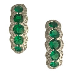 1.21 Carat Fine Emerald and Diamond Hoop Stud Earrings in 18 Karat White Gold