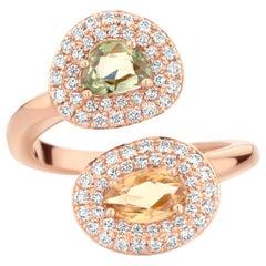 1.21 Carat Green and Yellow Sapphire 18 Karat Two-Stone Diamond Ring