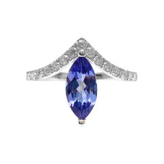 "1.21 Carat Marquise-Cut Violet Tanzanite and Diamond 18k White Gold ""V"" Ring"