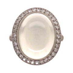 12.1 Carat Moonstone Diamond Platinum Cocktail Ring Fine Estate Jewelry