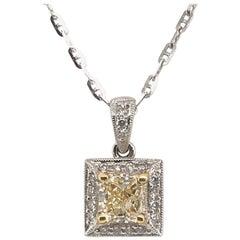 1.21 Carat Natural Yellow Diamond Pendant with 18 Karat Gold