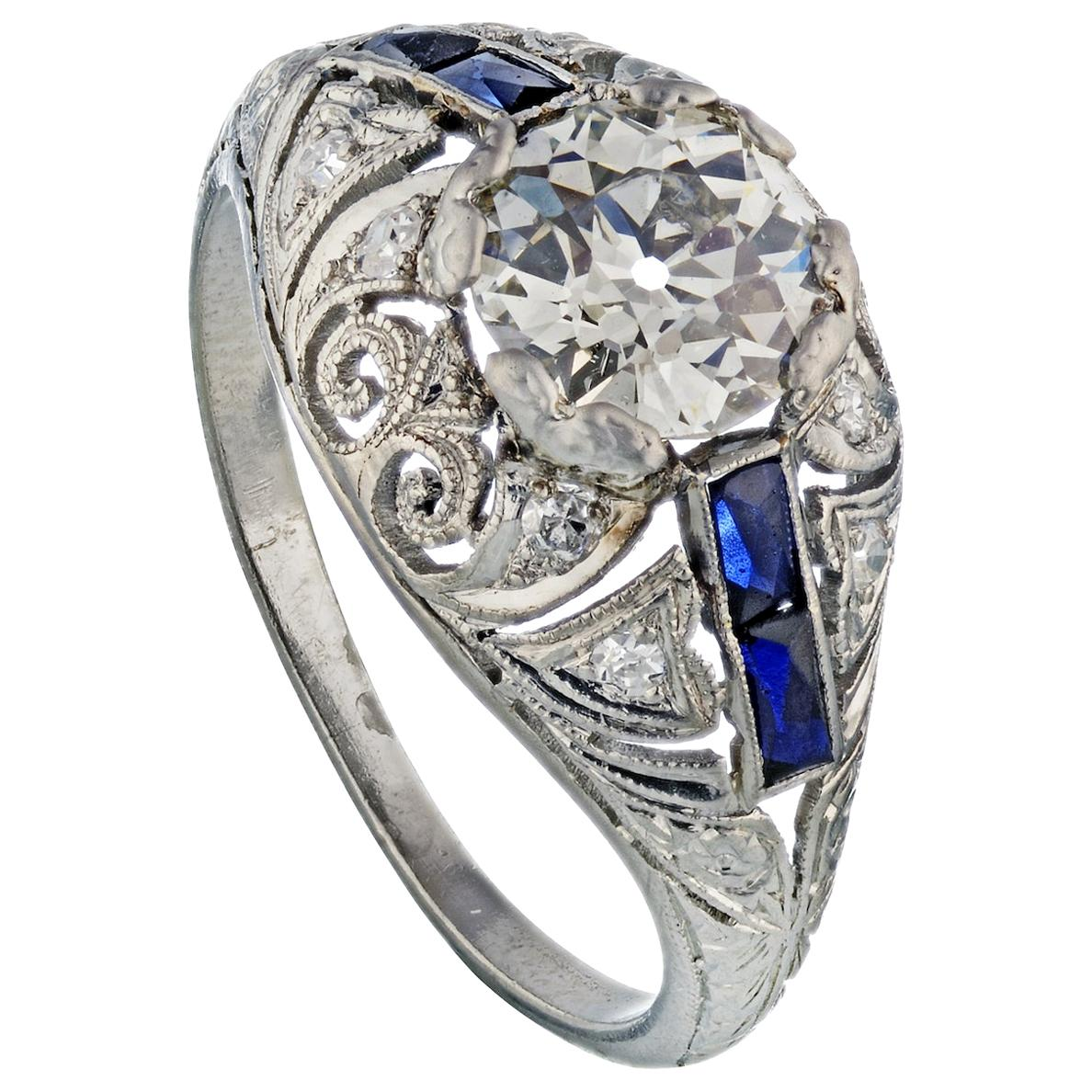 1.21 Carat Old European Cut Art Deco Sapphire Accented Engagement Ring