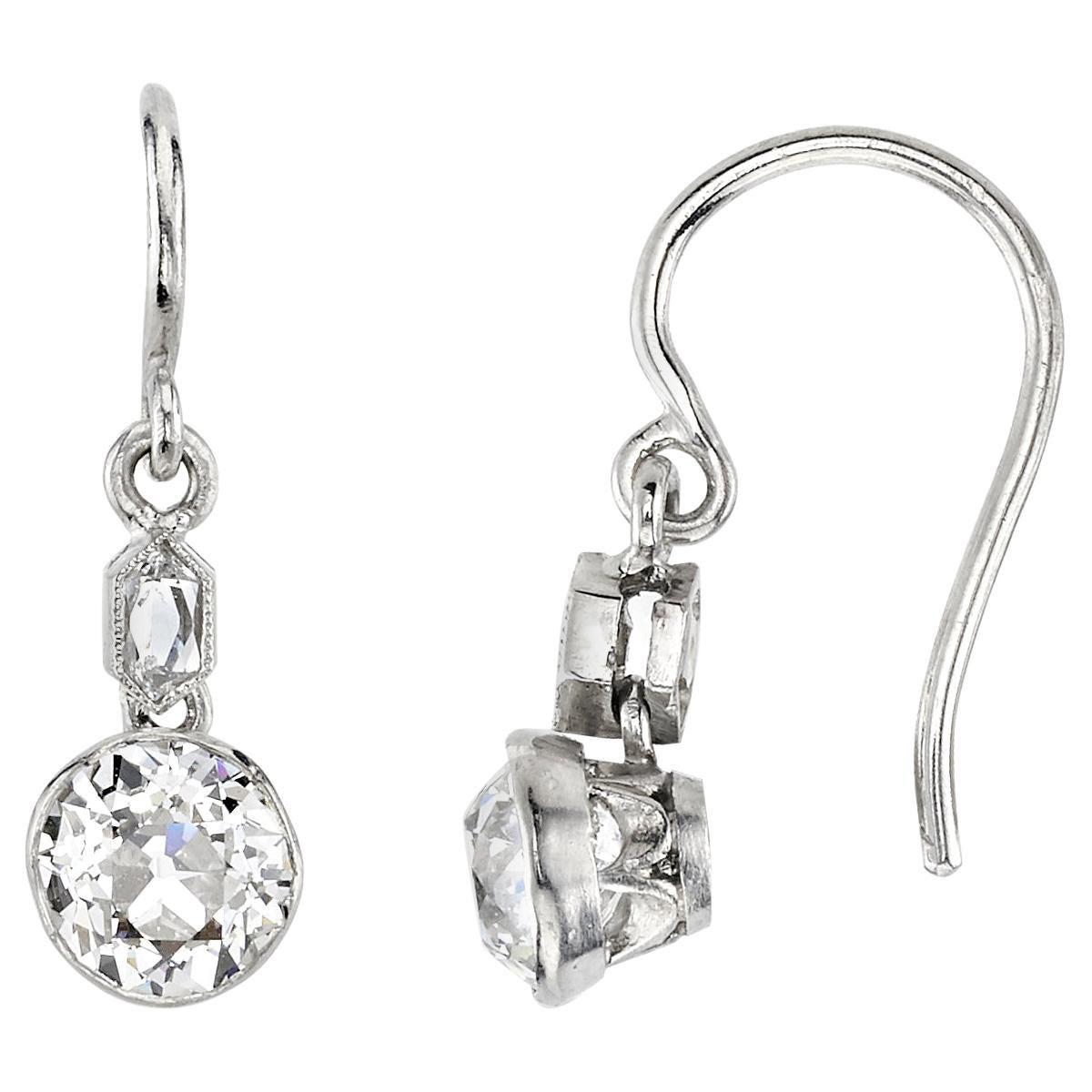 Handcrafted Duprie Old Mine Cut Diamond Drop Earrings by Single Stone