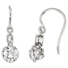 1.21 Carat Old Mine Cut Diamonds Mounted in Platinum Double Drop Earrings